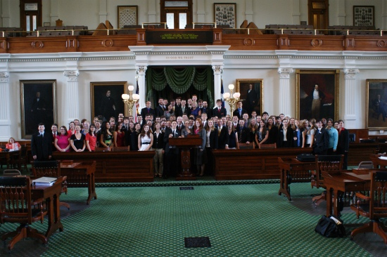 Patriot Academy students on the Texas Senate Floor
