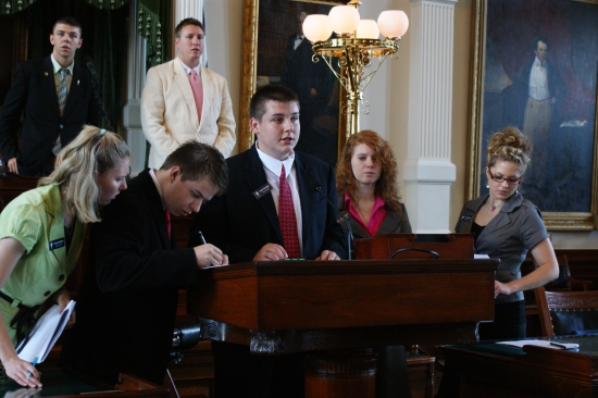 Kyle Griesinger presenting a bill