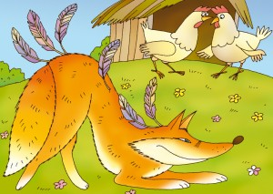 Cartoon of fox guarding the hen house