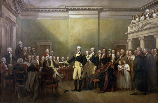 Washington resigning his commission