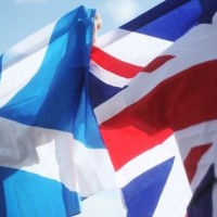Scottish and British flags